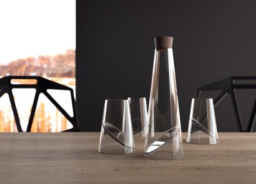 ชุด Slice Glass วางบนโต๊ะ