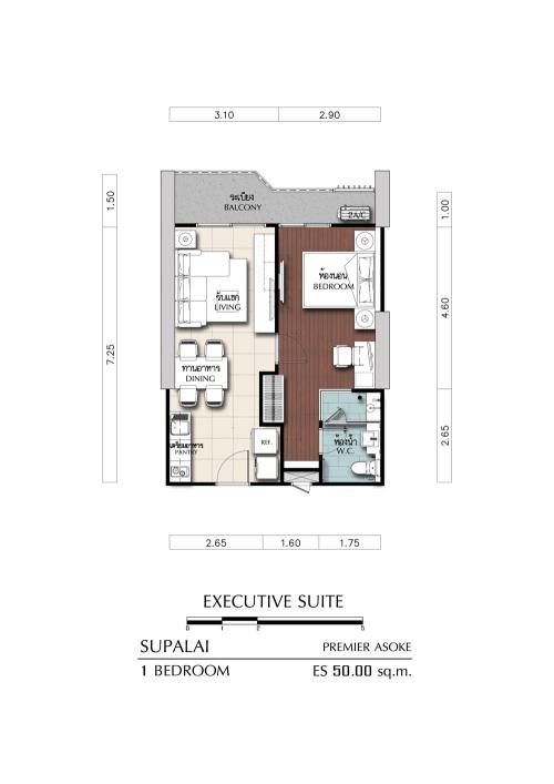 ศุภาลัย พรีเมียร์ อโศก Executive Suite 1 Bed