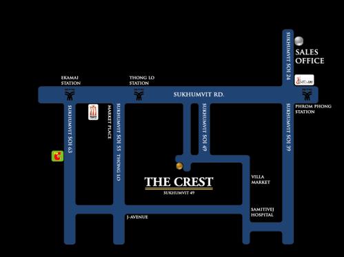 แผนที่ เดอะเครส THE CREST สุขุมวิท 49