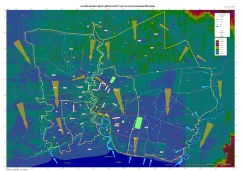 ความสูงต่ำของภูมิประเทศ (ทางน้ำไหล) ของกรุงเทพมหานครและปริมณฑล