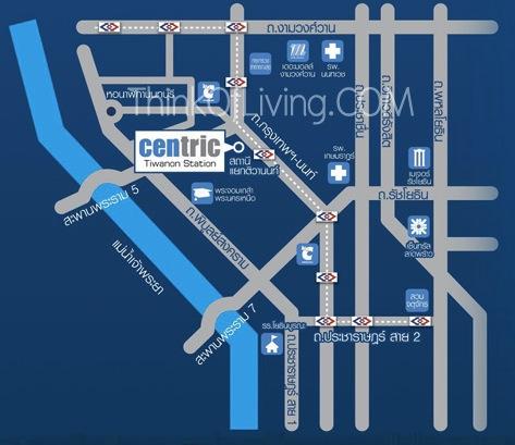 คอนโด Centric MRT ติวานนท์ - แผนที่